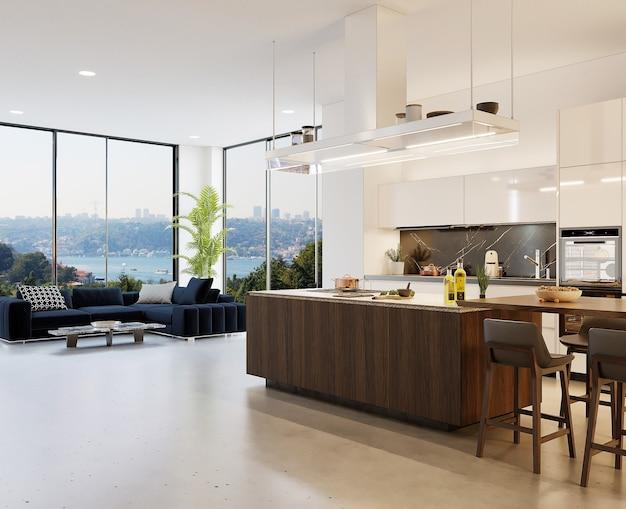 Sala de estar moderna com cozinha americana e sofá, render 3d