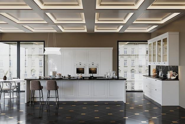 Sala de estar moderna com cozinha americana