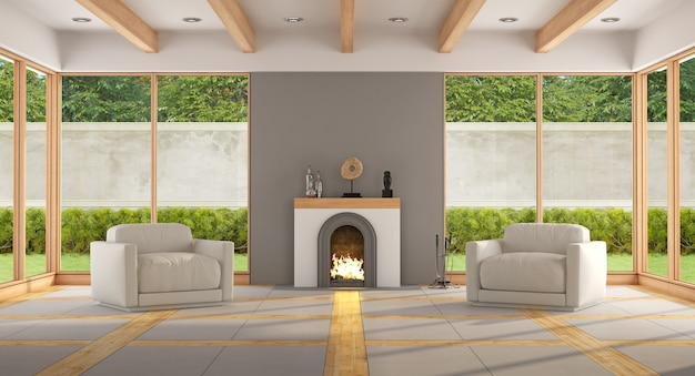 Sala de estar moderna com lareira