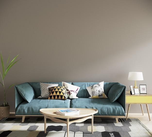 Sala de estar moderna com sofá azul