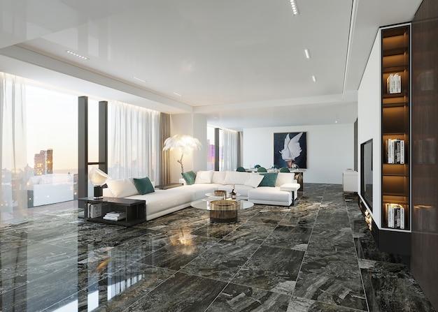 Sala de estar moderna com sofá e design de piso serâmico preto