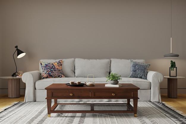 Sala de estar moderna com sofá e mesa
