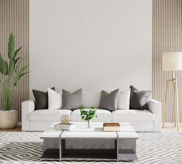 Sala de estar moderna com sofá e travesseiros