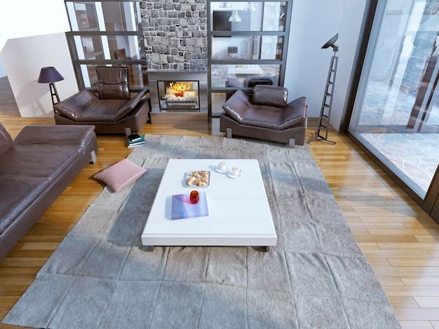 Sala de estar moderna com sofás de couro.