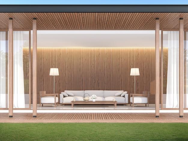 Sala de estar moderna contemporânea 3d renderfront da sala tem uma varanda de madeira e um gramado verde