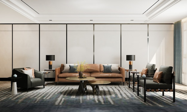 Sala de estar moderna e aconchegante e textura de parede vazia design de interiores renderização 3d