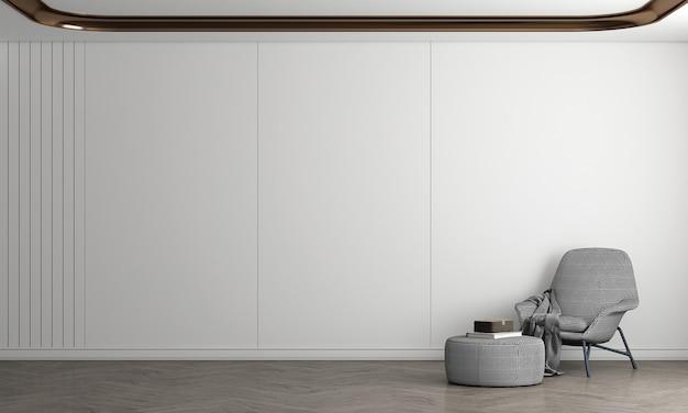 Sala de estar moderna e design de interiores com fundo de parede branca