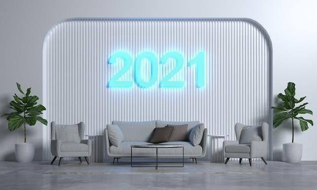 Sala de estar moderna e design de interiores de estilo e textura de parede e ano novo 2021