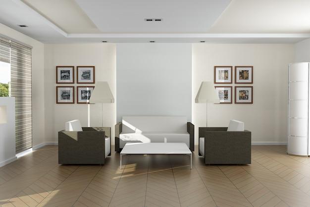 Sala de estar moderna e elegante. as fotos na parede são minhas, então não há problema de direitos autorais