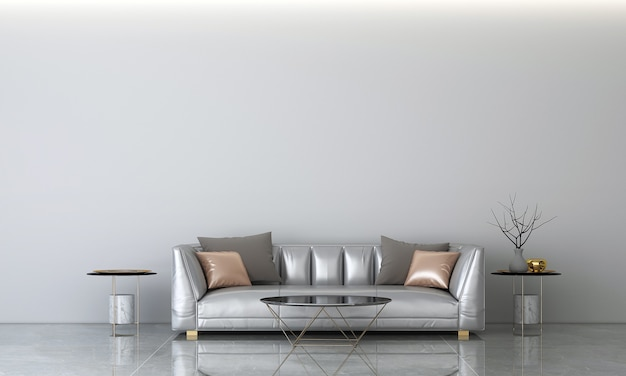 Sala de estar moderna e textura de parede de concreto fundo design de interiores renderização em 3d