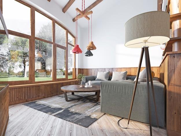 Sala de estar moderna em estilo loft com sofá de canto e parede com painéis de madeira