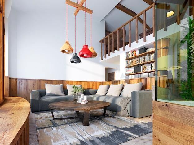 Sala de estar moderna em estilo loft