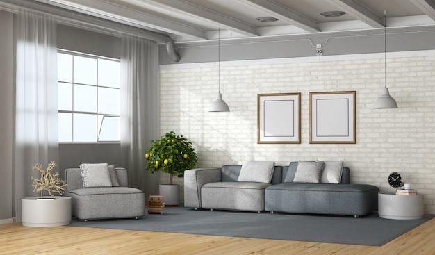 Sala de estar moderna em um loft