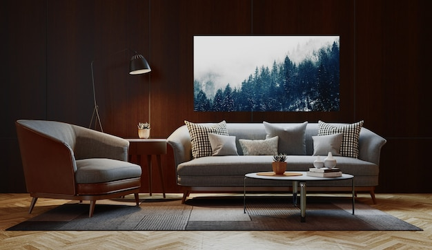 Sala de estar moderna luxuosa, sofá moderno. ilustração de renderização 3d.