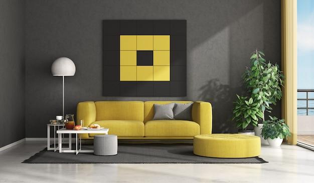 Sala de estar moderna preta e amarela