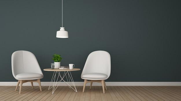 Sala de estar no café ou no salão - rendição 3d