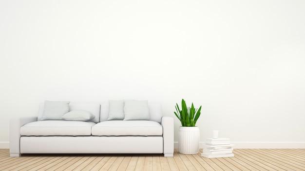 Sala de estar ou biblioteca - renderização em 3d