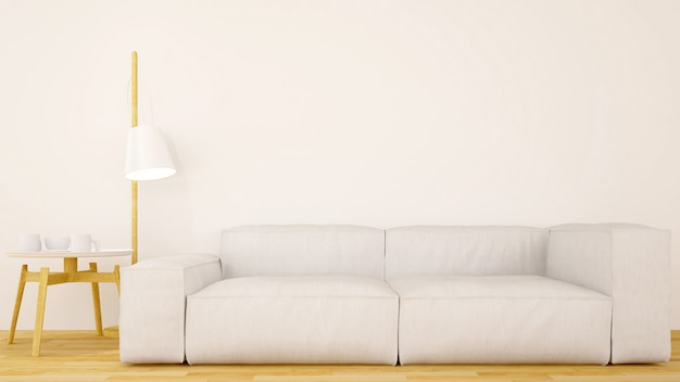 Sala de estar ou café design limpo-3d rendering
