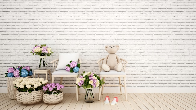 Sala de estar ou kid room decoração flor-3d rendering