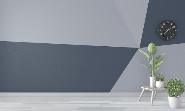 Sala de estar parede geométrica sobre piso de madeira. renderização em 3d