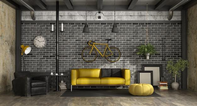 Sala de estar preta e amarela em um loft