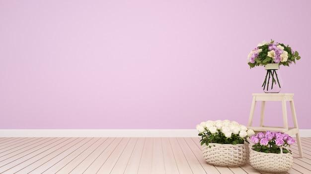 Sala de estar rosa ou flor de decoração de café