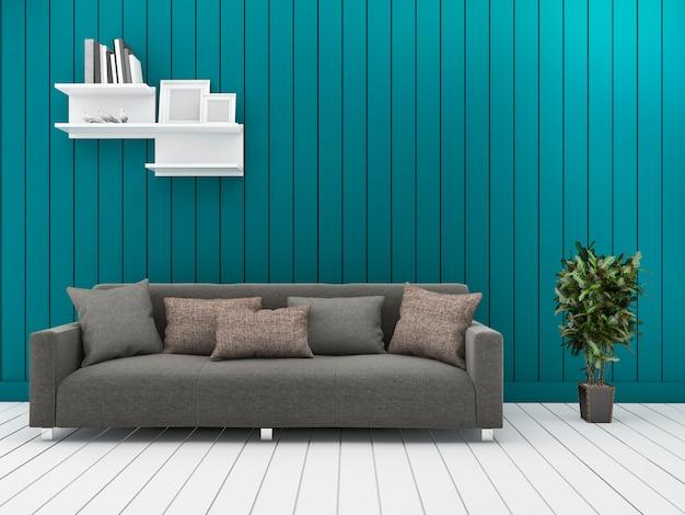 Sala de estar verde mínima da parede da rendição 3d com sofá do vintage