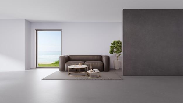 Sala de estar vista mar da casa de praia de verão luxo com janela de vidro e piso cinza.