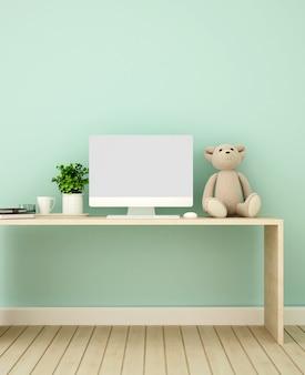 Sala de estudo e parede verde decorada para obras de arte