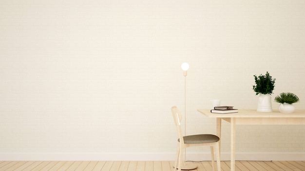 Sala de estudo ou sala de jantar no apartamento - renderização em 3d