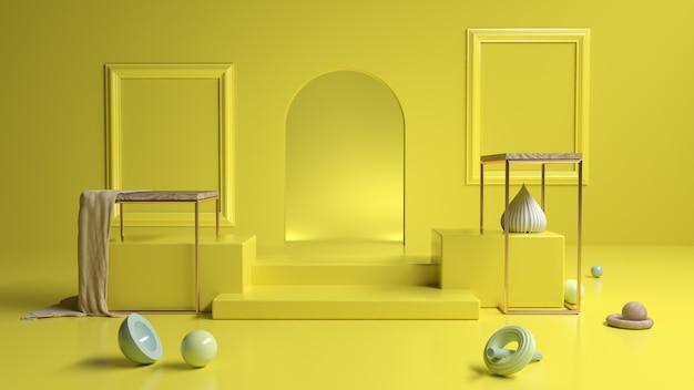 Sala de exposição amarela abstrata com formas geométricas, ilustração 3d