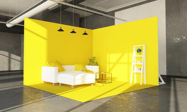 Sala de exposições amarela do sofá