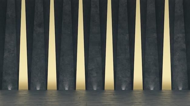Sala de exposições concreta 3d abstrata