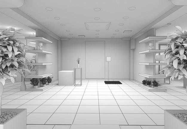 Sala de exposições de interiores