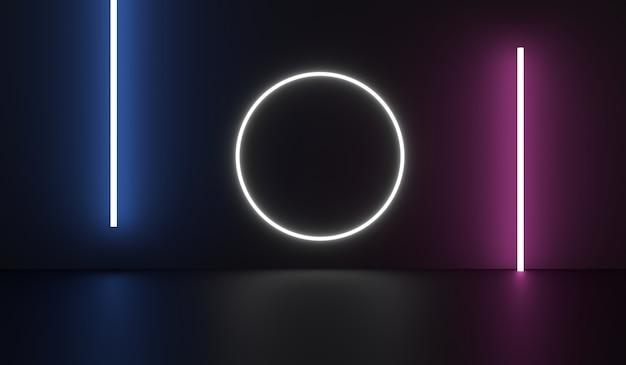 Sala de ficção científica vazia com círculo branco e tubo de néon roxo azul
