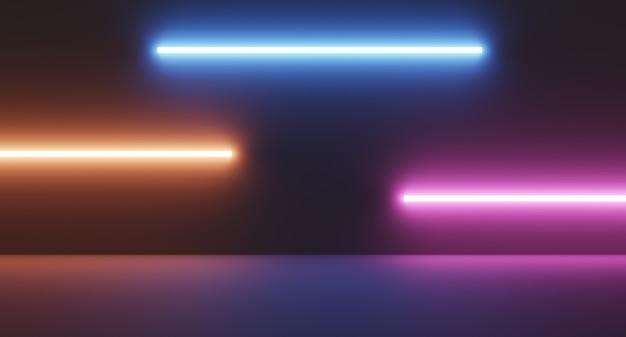 Sala de ficção científica vazia com luz brilhante de tubo de néon laranja azul roxo