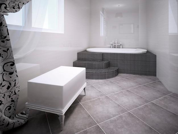 Sala de hidromassagem. interior em estilo vanguardista. banco de tijolo branco perto da janela e jacuzzi elegante feito de pequenos ladrilhos de granito escuro. renderização 3d