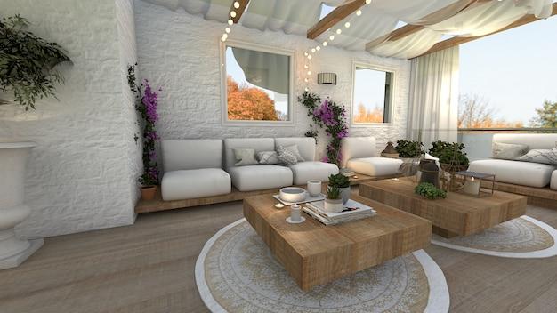 Sala de jantar ao ar livre 3d renderizada
