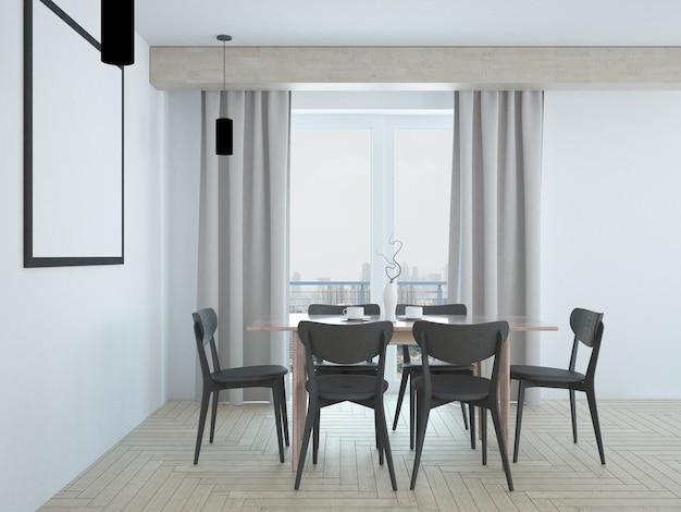 Sala de jantar bege simples e elegante