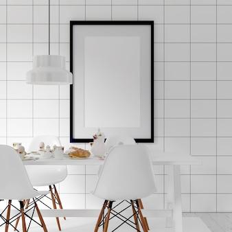 Sala de jantar branca interior da maquete do quadro