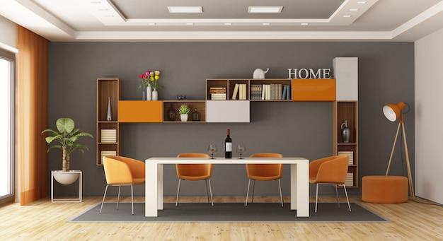 Sala de jantar cinza e laranja