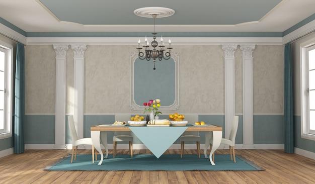 Sala de jantar clássica com elegante conjunto de mesa e cadeiras