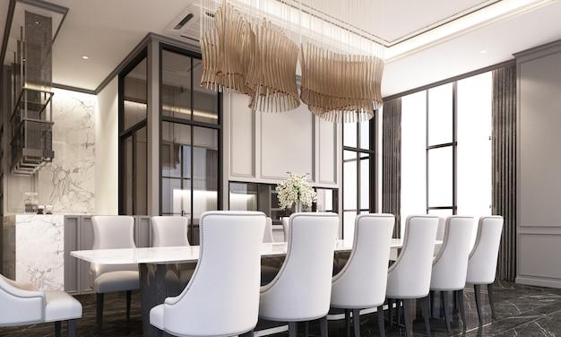 Sala de jantar com cadeira de jantar e mesa no piso de mármore preto e elemento clássico decoração de parede e teto renderização em 3d