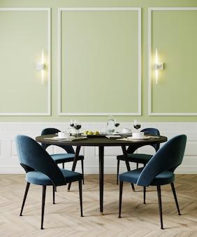 Sala de jantar com cadeiras e lâmpadas azuis, luz verde parede vazia mock up, renderização em 3d