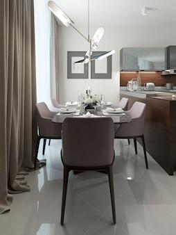 Sala de jantar com design moderno e interior branco.