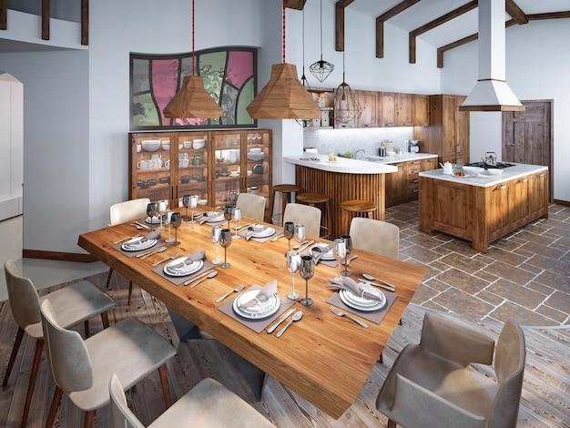 Sala de jantar com grande mesa de jantar e tectos altos no loft