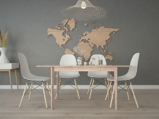 Sala de jantar com mesa de madeira e mapa-múndi na parede de concreto