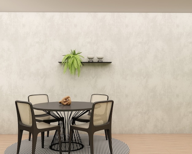 Sala de jantar com parede de cimento queimado piso de madeira tapete geométrico mesa redonda e prateleira de cadeiras com decoração e planta