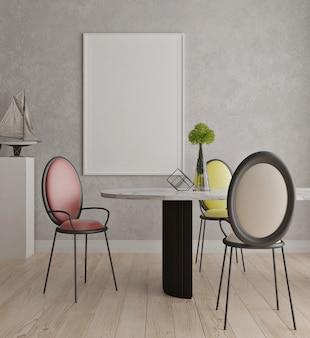 Sala de jantar contemporânea moderna com mock up moldura de cartaz