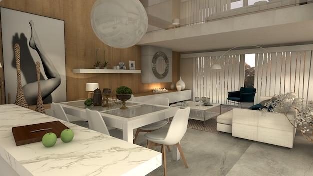 Sala de jantar da casa moderna de luxo. projeto 3d render